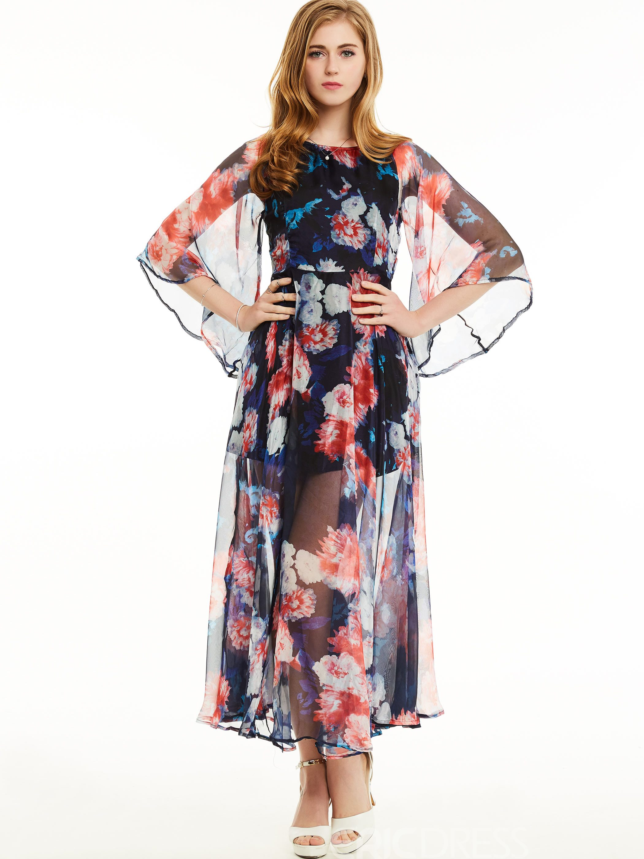 Ericdress Bell Sleeve Flower Print Maxi Dress