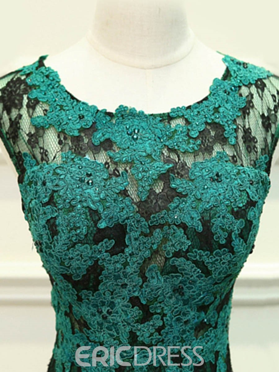 Ericdress Cap Sleeves Appliques Lace Mermaid Evening Dress With Court Train