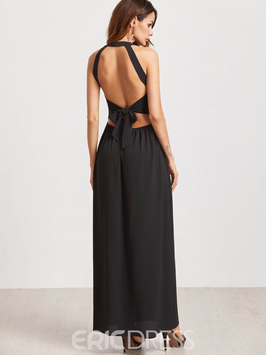 Ericdress Print Backless Split Maxi Dress