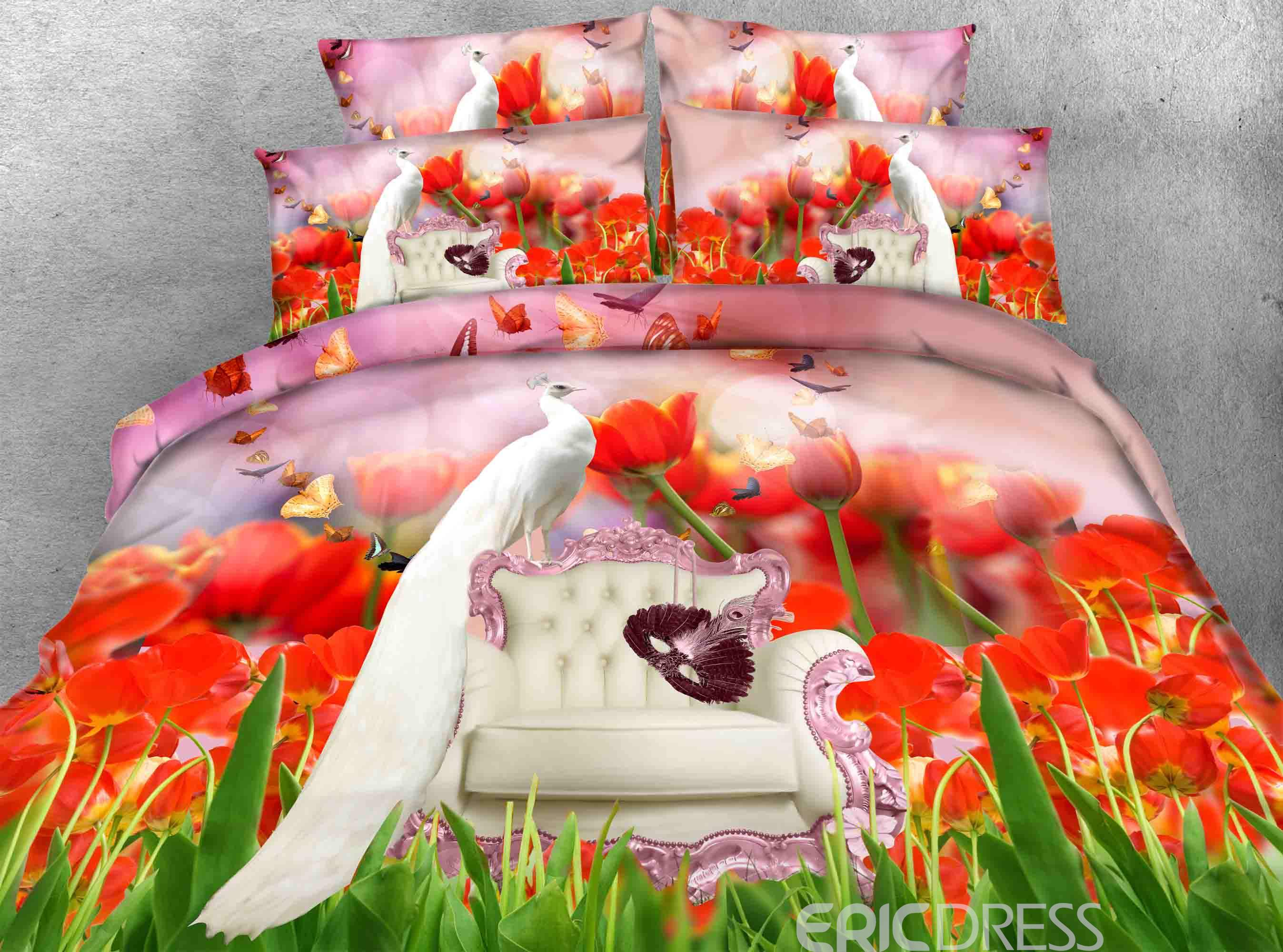 White Peacock and Red Tulips Printed Cotton 3D 4-Piece Bedding Sets/Duvet Covers