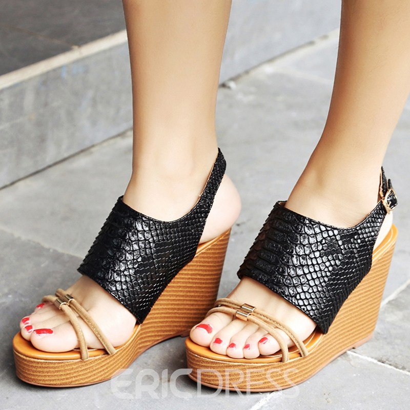 04550f1844 Ericdress Unique Open Toe Backless Wedge Sandals 12773959 ...