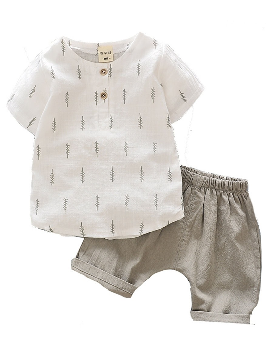Ericdress Simple Cotton Blends Boys 2-Pcs Shorts Outfit