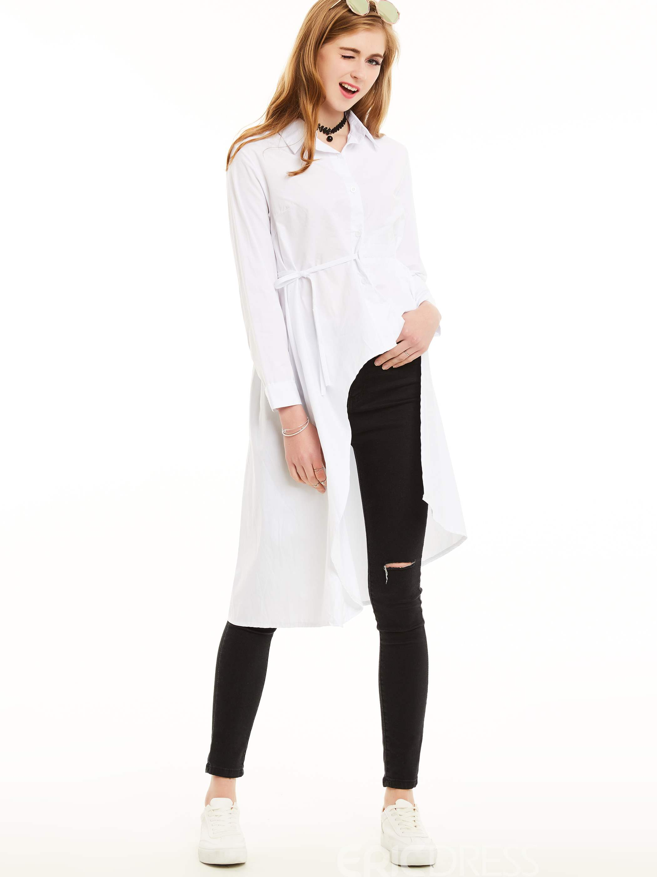 Ericdress Dip Hem Lapel White Blouse