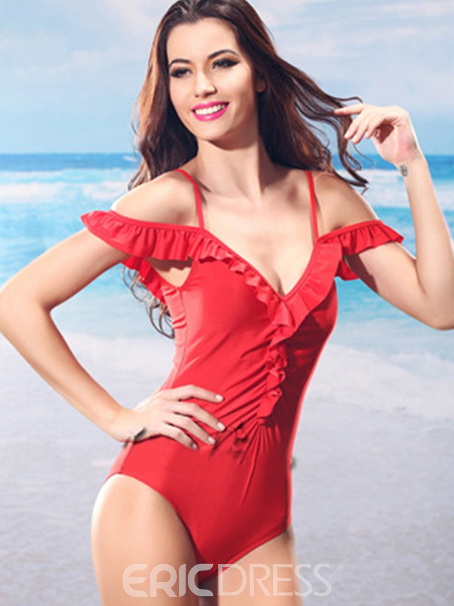 Ericdress Solid Color Falbala Pleated One-Piece Swimwear