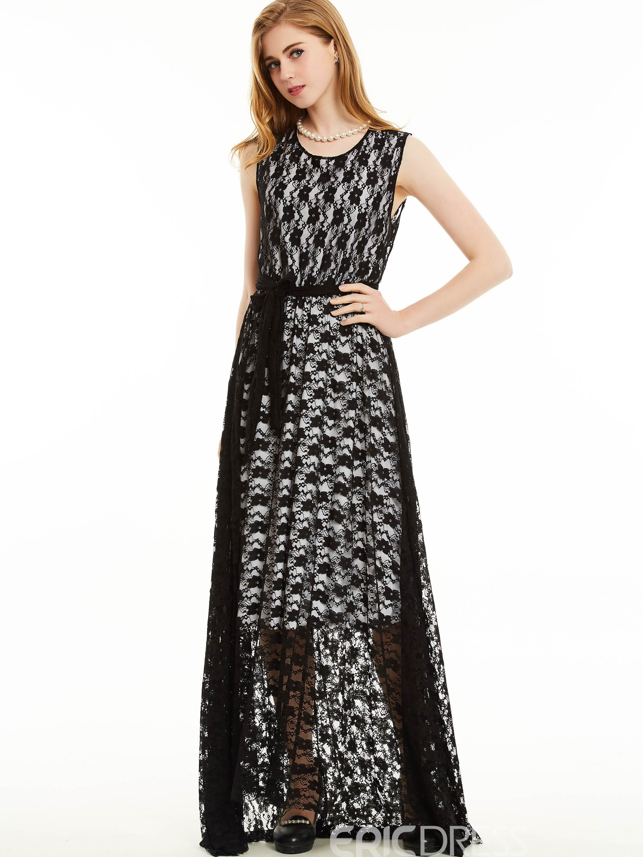 Ericdress Round Neck Sleeveless Floral Lace Dress