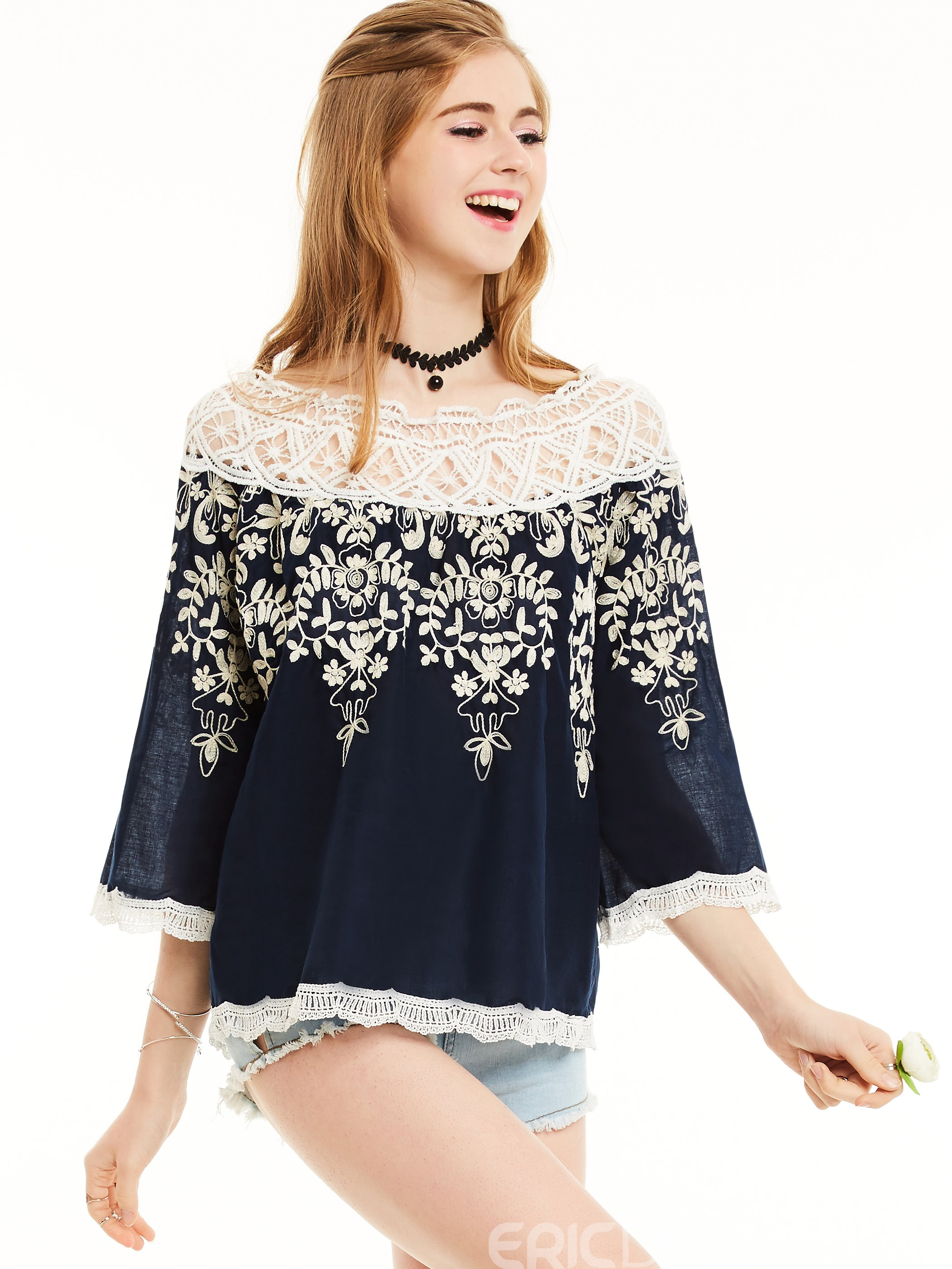 Ericdress Slash Neck Lace Patchwork Color Block Blouse