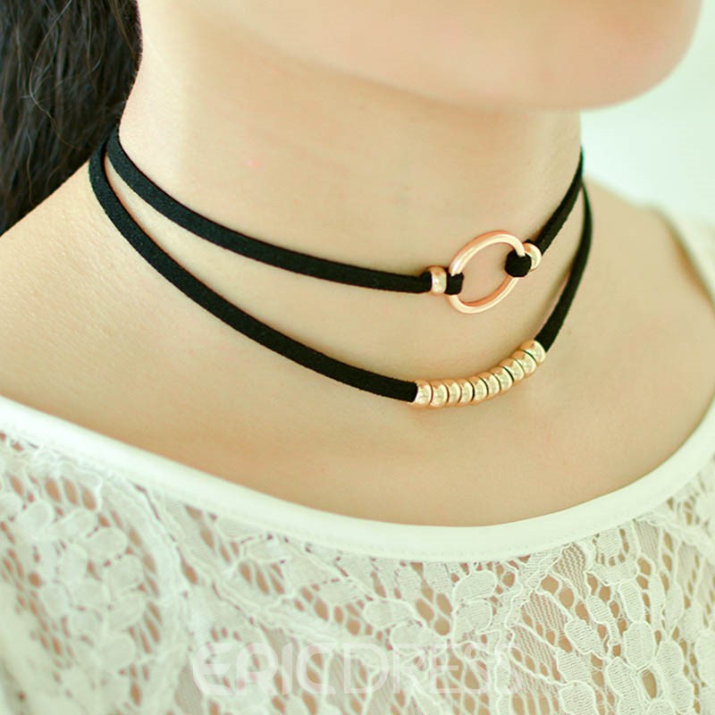 Ericdress Metal Ring Double Layers Velvet Choker Necklace