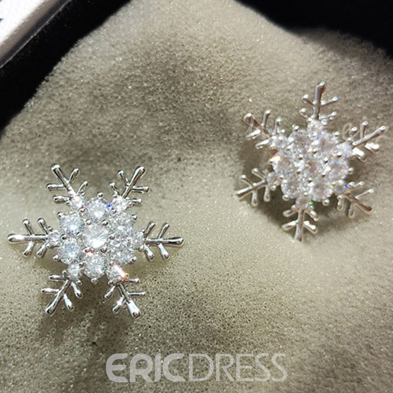 Ericdress Shiny Zircon Snowflake Anti Allergy Earrings