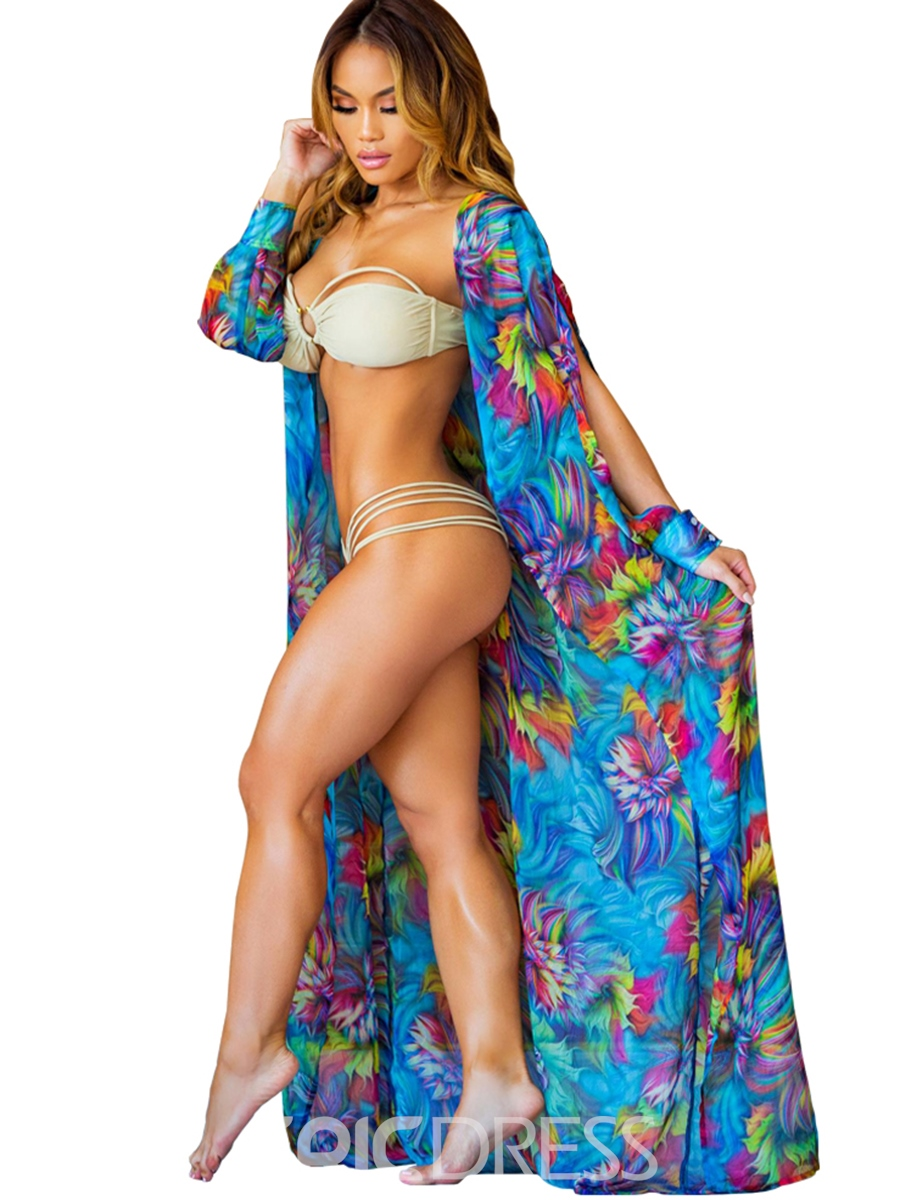 Ericdress Graceful Multicolor Flower Print Long Beach Cover Ups