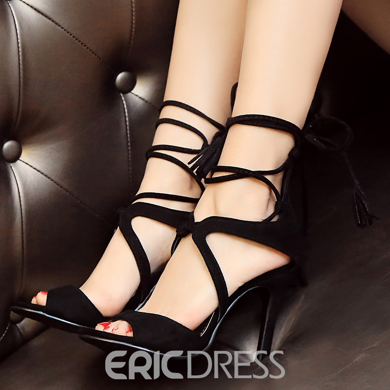 Ericdress Pretty Suede Peep Toe Lace up Stiletto Sandals