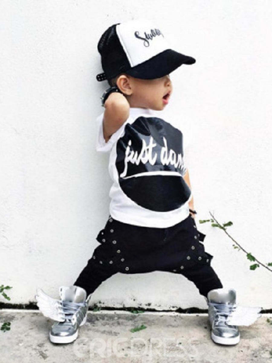 Ericdress Letter T-Shirt Harem Pants Casual Boys Outfit