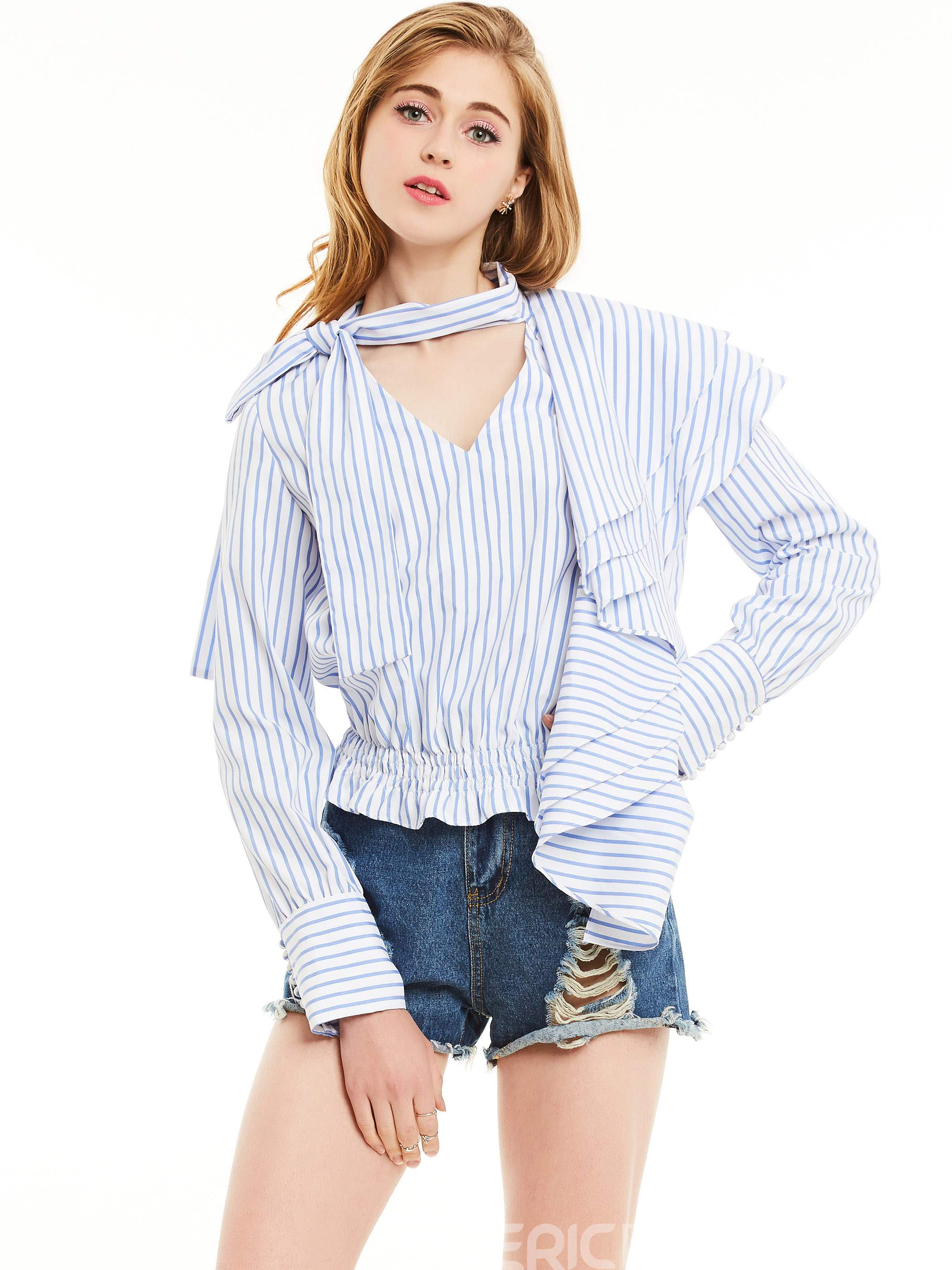 Ericdress Stripped Lace-Up Asymmetric Slim Blouse