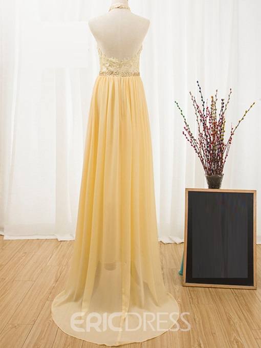 Ericdress A Line Halter Lace Beaded Backless Prom Dress