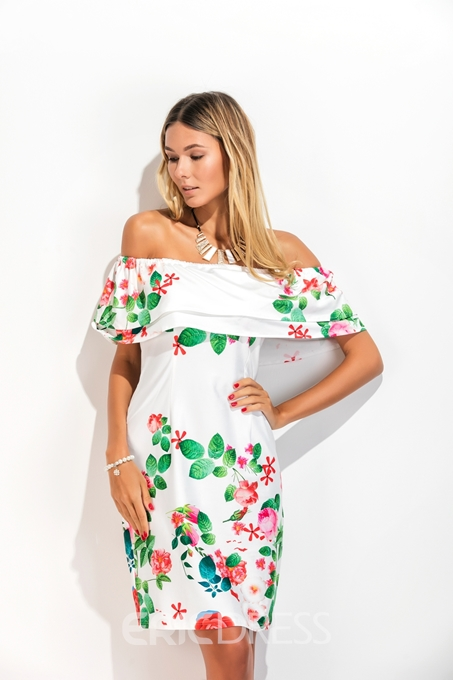Ericdress Fresh Feeling Printing Off-The-Shoulder Bodycon Dress