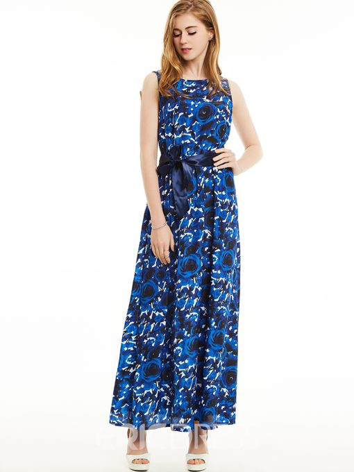 Ericdress Backless Flower Print Maxi Dress