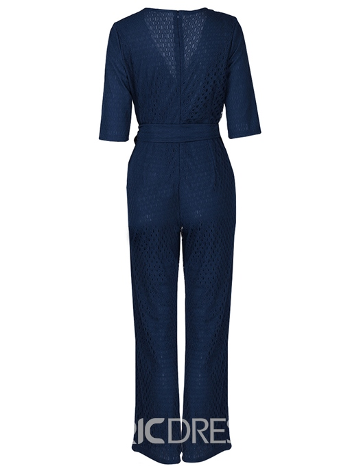 Ericdress Wide Legs Lace-Up Slim Belt Jumpsuit