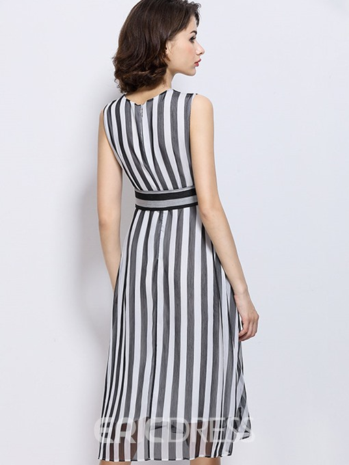 Ericdress Nautical Style Stripe Back-Zipper Belt A Line Dress