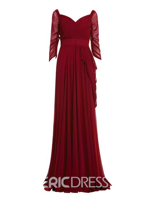 Ericdress A-Line Off-the-Shoulder 3/4 Sleeves Evening Dress With Pleats