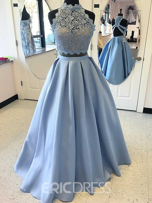Ericdress A Line Two-Pieces Lace Satin Prom Dress With Cross Back