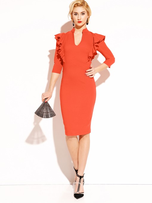 Ericdress Plain Ruffles Contrast-Trim V-Neck Sheath Dress