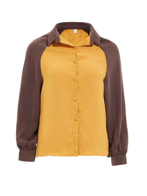 Ericdress Color Block Lapel Single-Breasted Blouse