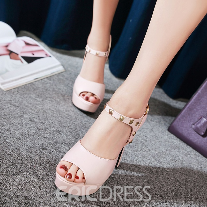 Ericdress Rivet Decorated Platform Chunky Sandals