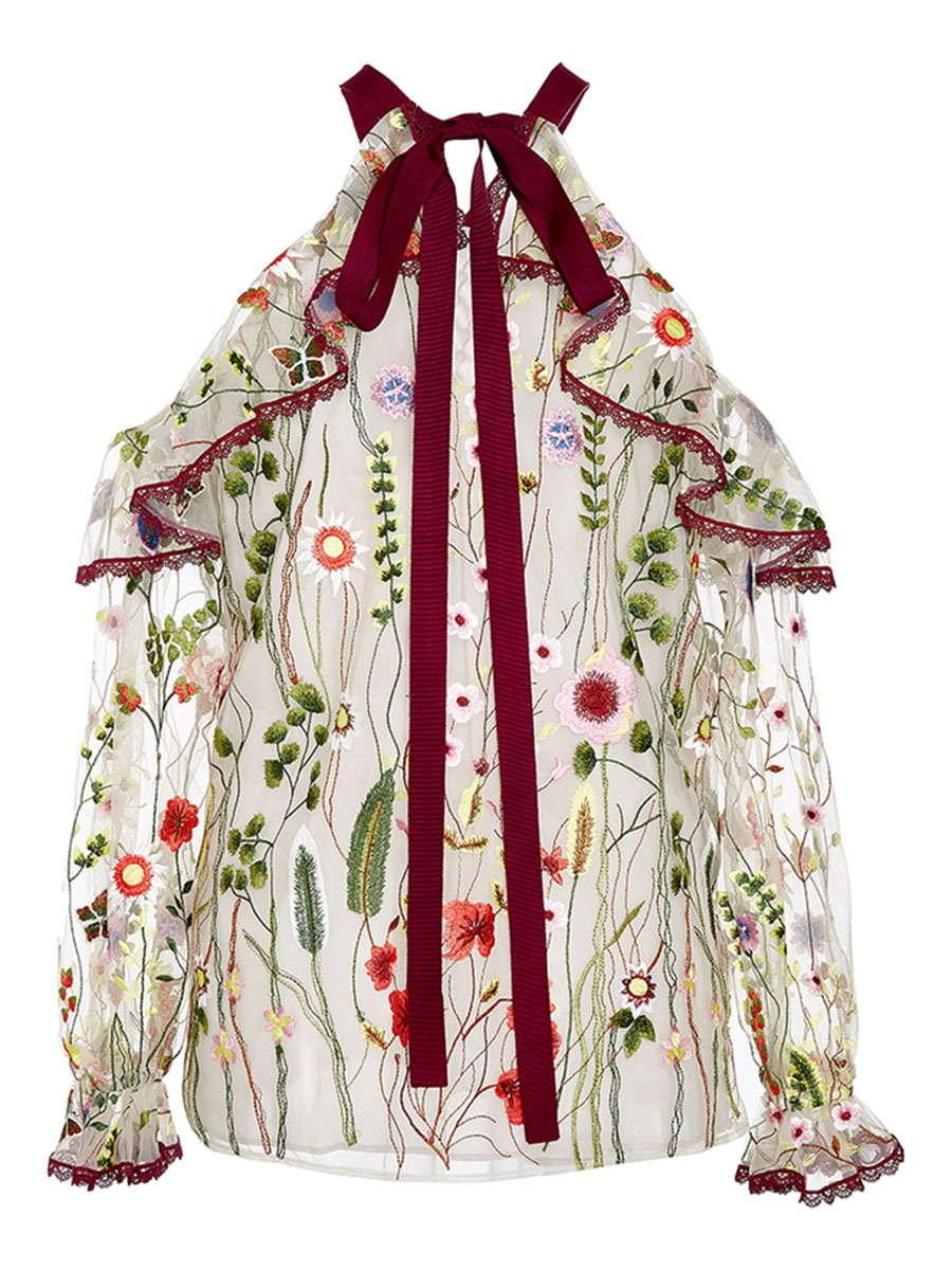 Ericdress Floral Print Frill Blouse