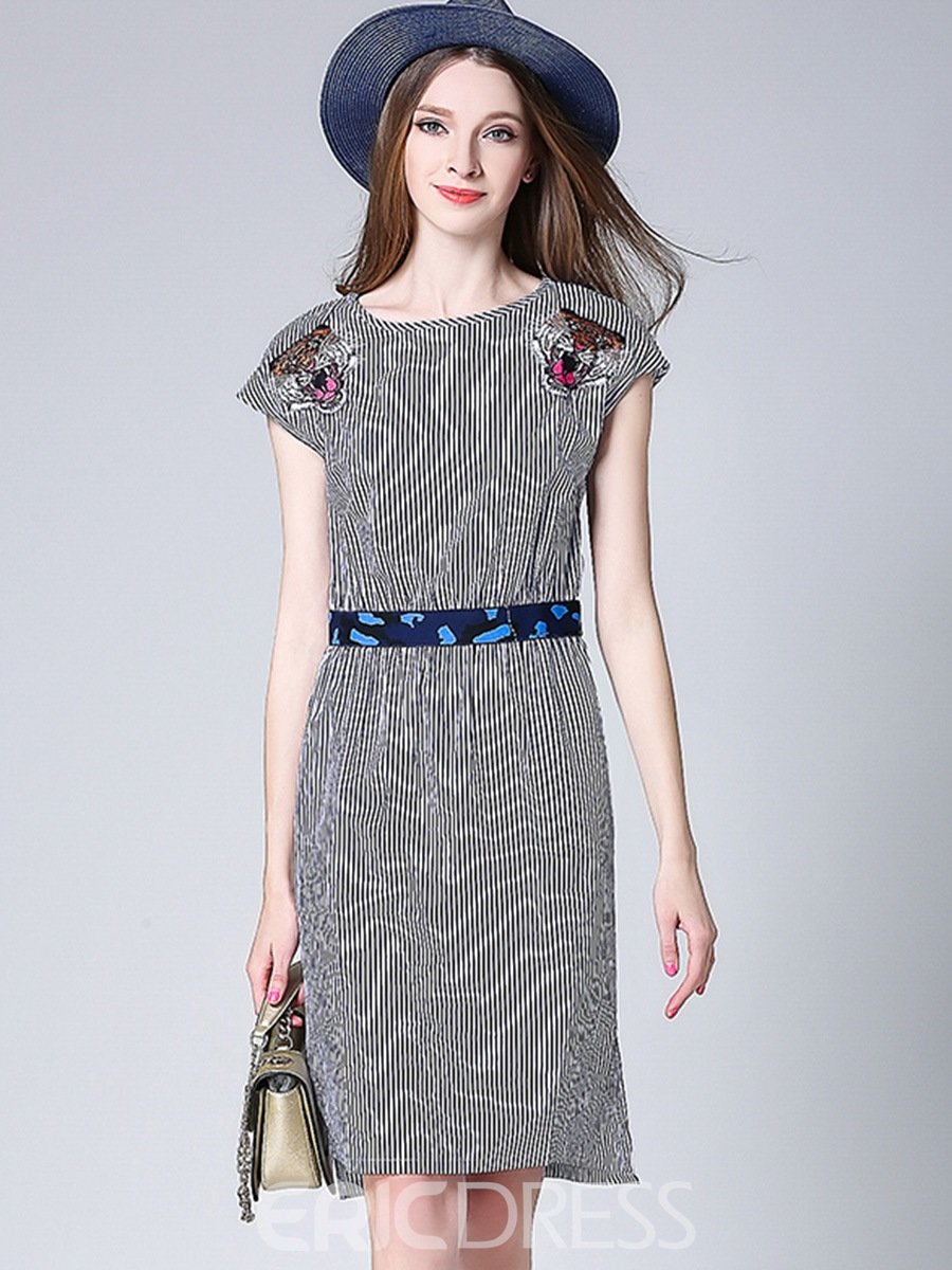 Ericdress Appliques Belt Strip Sheath Dress