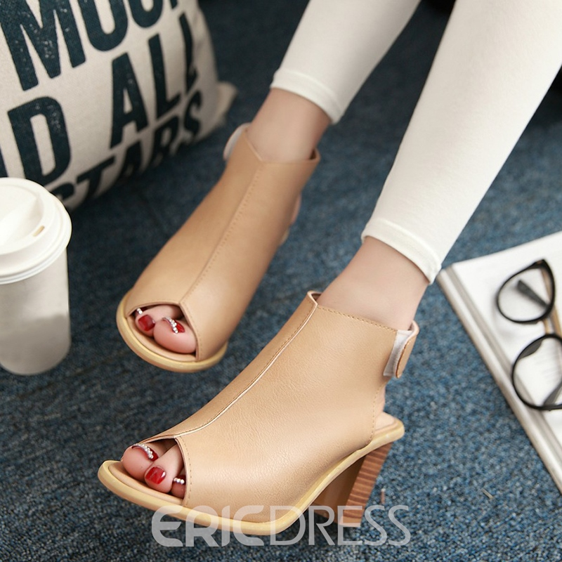 Ericdress PU Peep Toe Backless Chunky Sandals