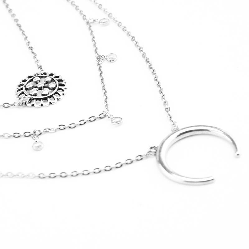 Ericdress Alloy Carving Silver Layered Retro Necklace