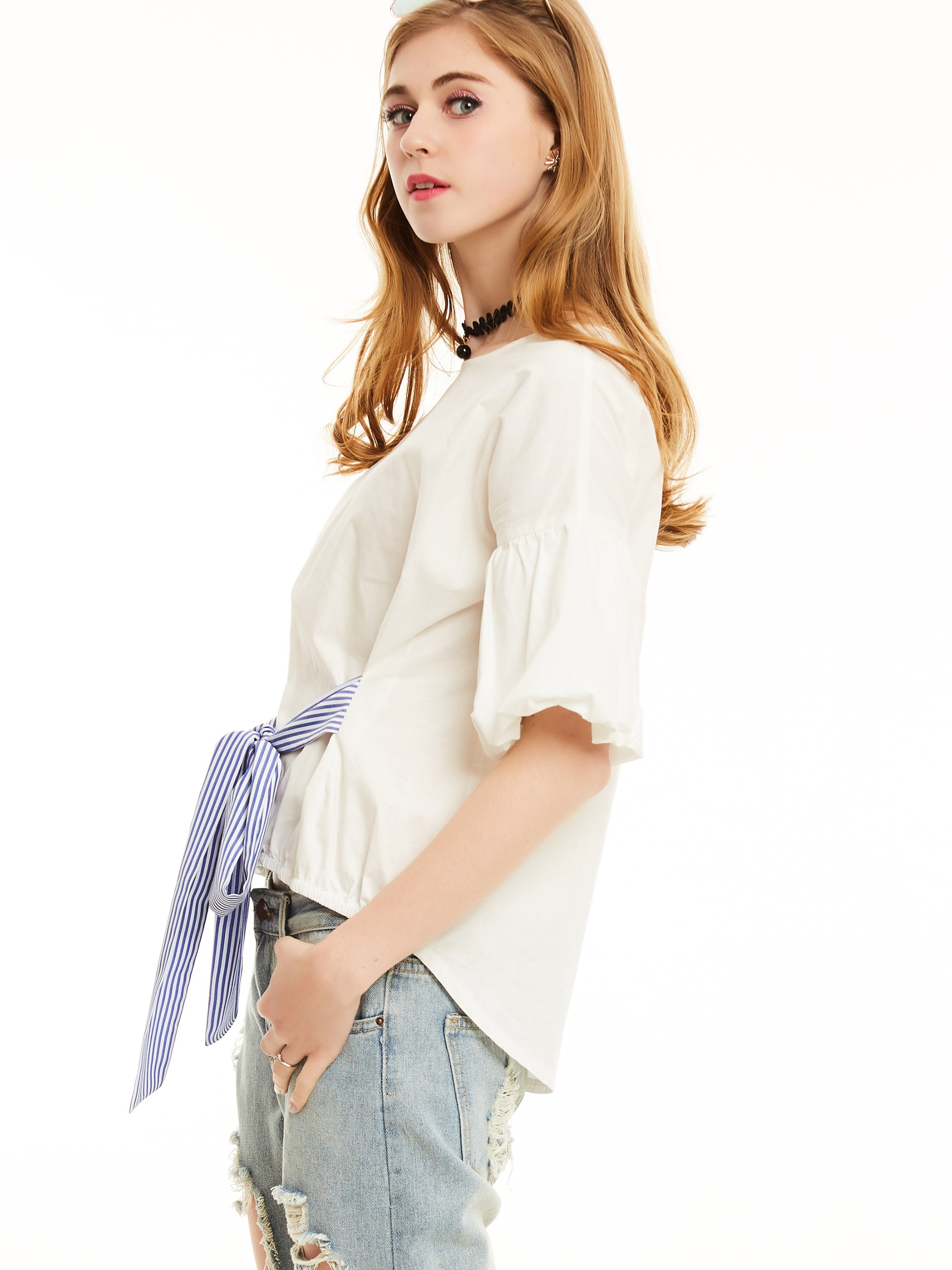 Ericdress Color Block Lace-Up Blouse