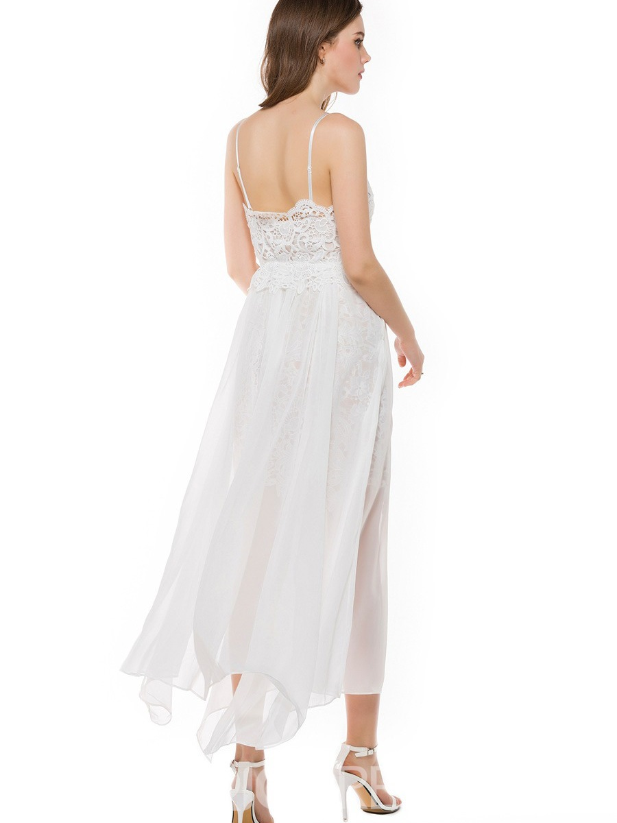 Ericdress See-Through Spaghetti Strap Backless Maxi Dress