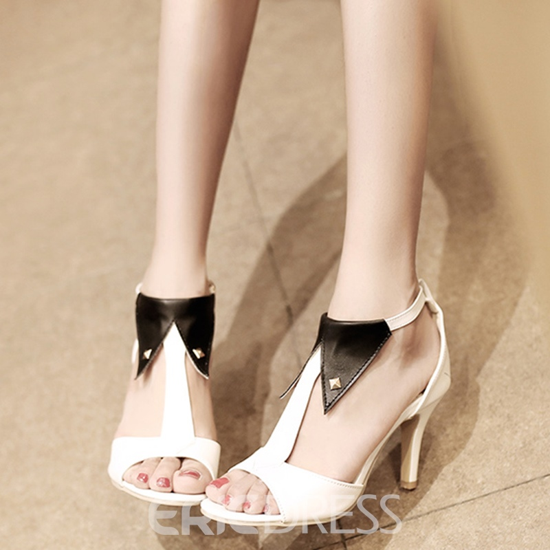 Ericdress Special Patchwork Peep Toe Stiletto Sandals