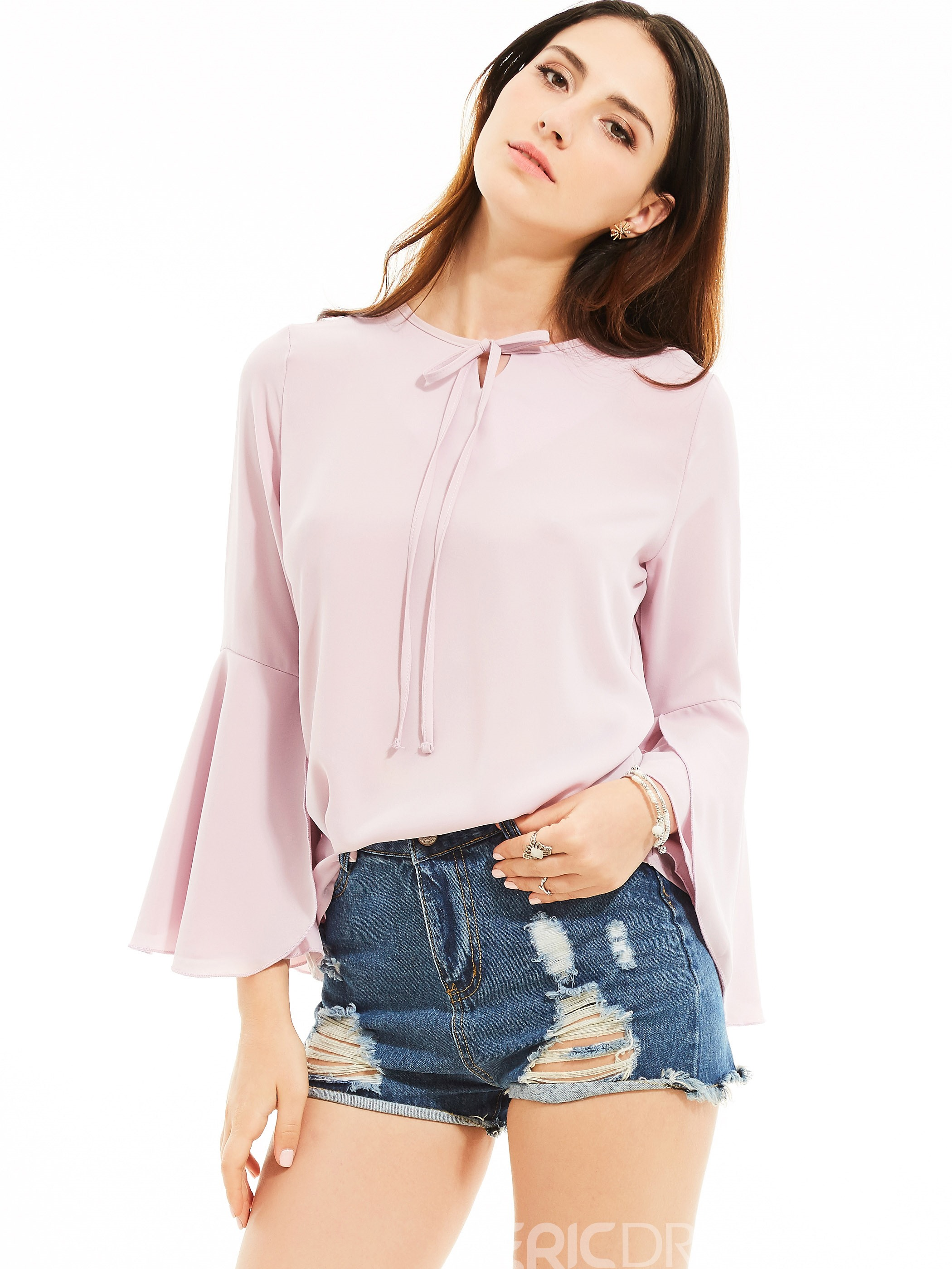 Ericdress Slim Round Neck Flare Sleeves Plain Blouse