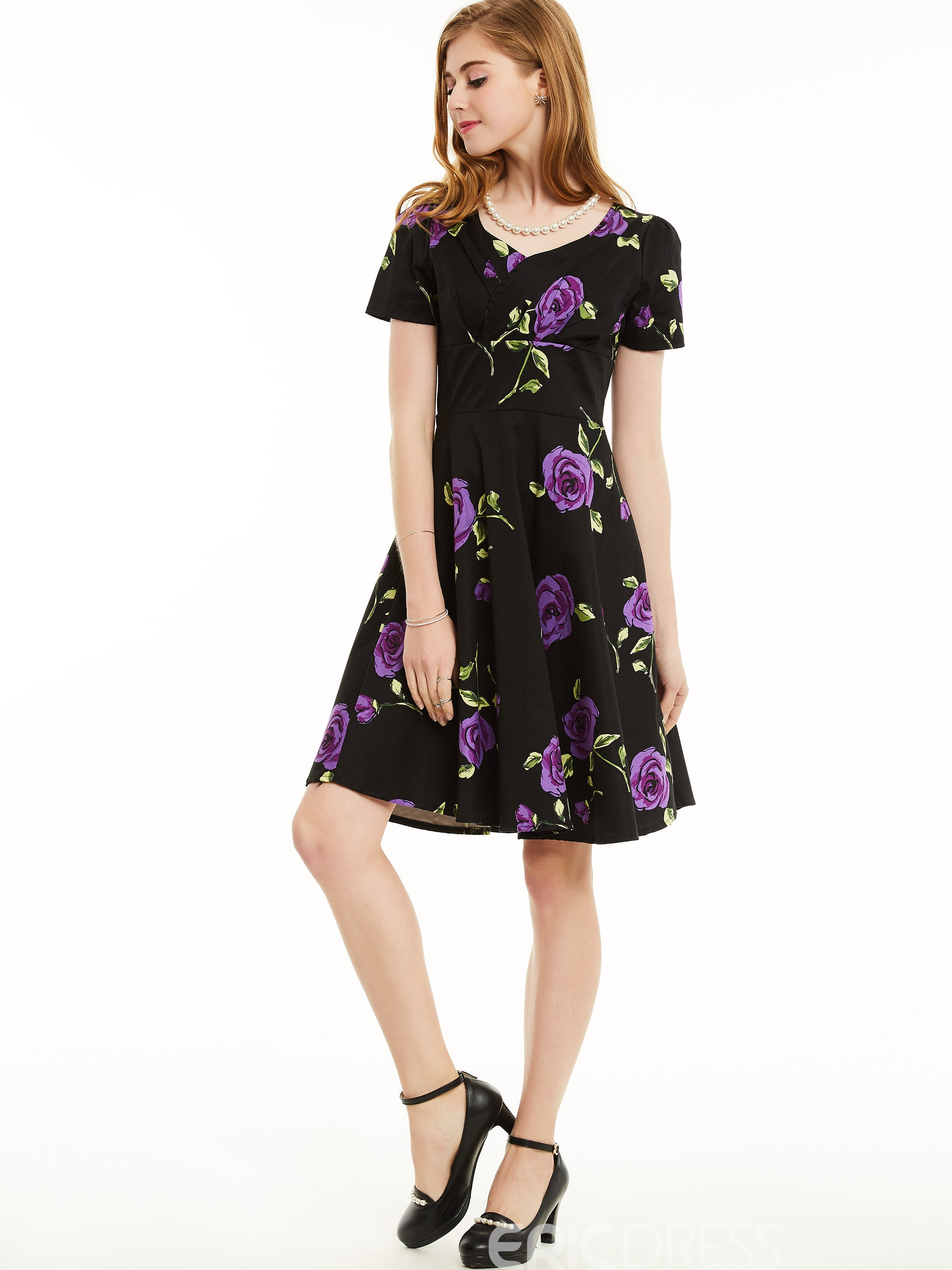 Ericdress V-Neck Pleated Floral Casual Dress