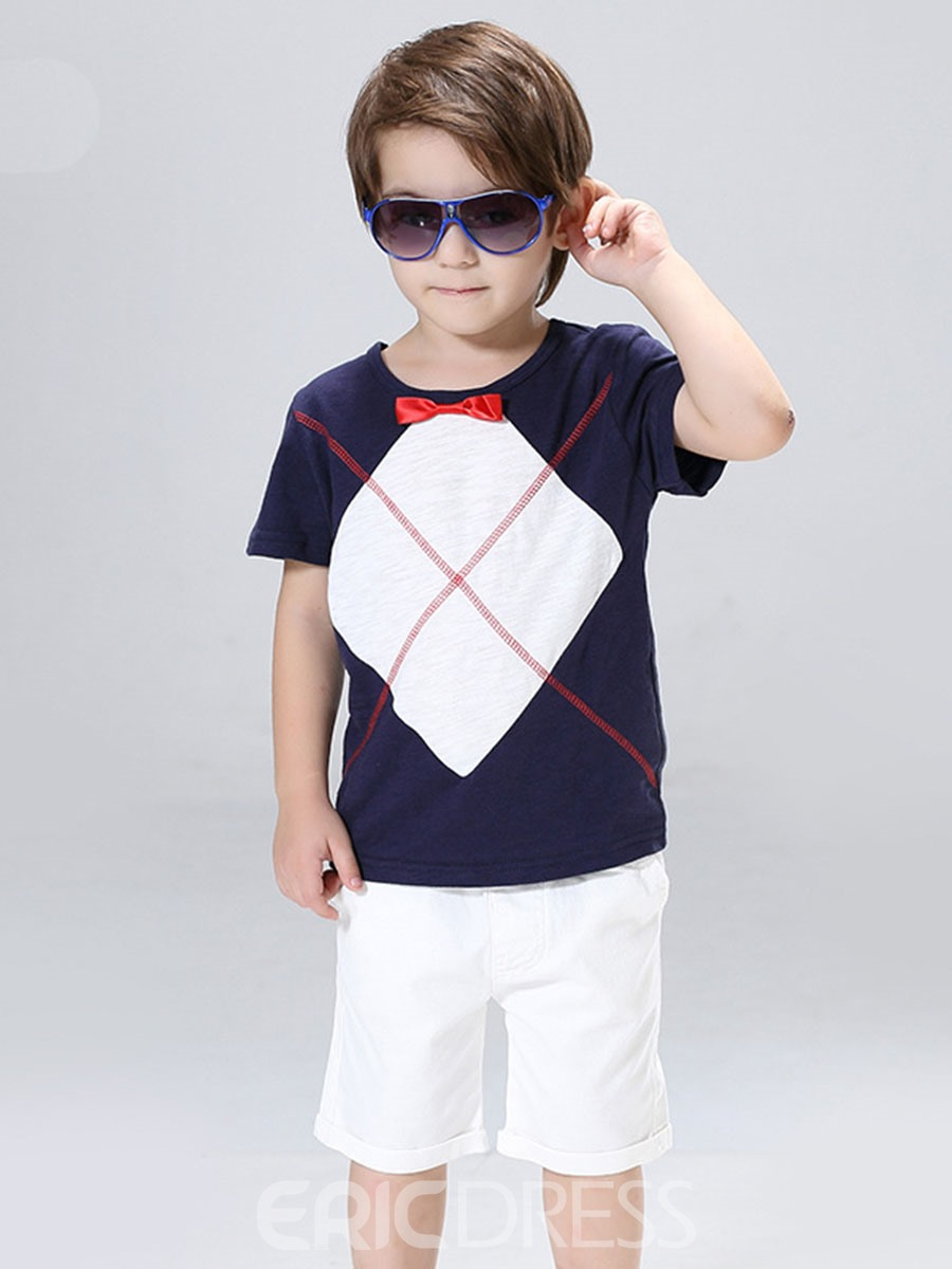 Ericdress Polyester Bowknot T-Shirt Shorts 2-Pcs Boys Outfit