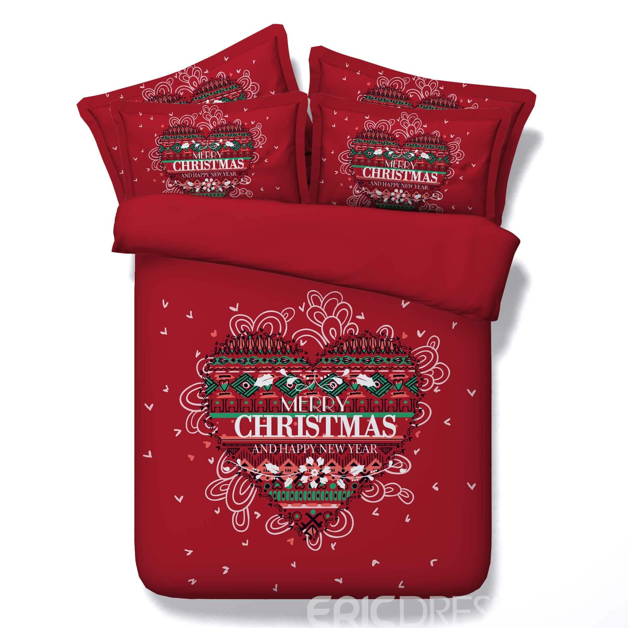 3D Heart and Merry Christmas Printed Cotton 4-Piece Red Bedding Sets/Duvet Covers