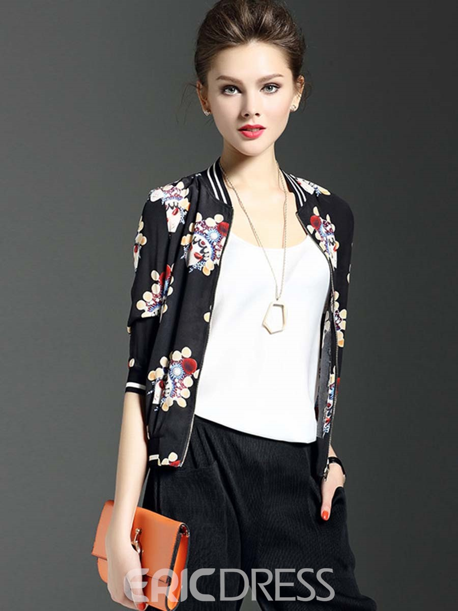Ericdress Mask Print Baseball Jacket