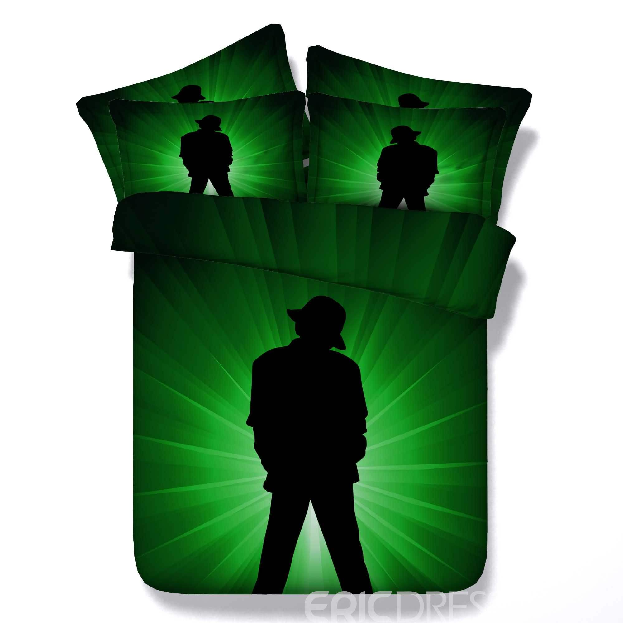 Silhouette of Male Dancer Printed Cotton 4-Piece 3D Green Bedding Sets/Duvet Covers