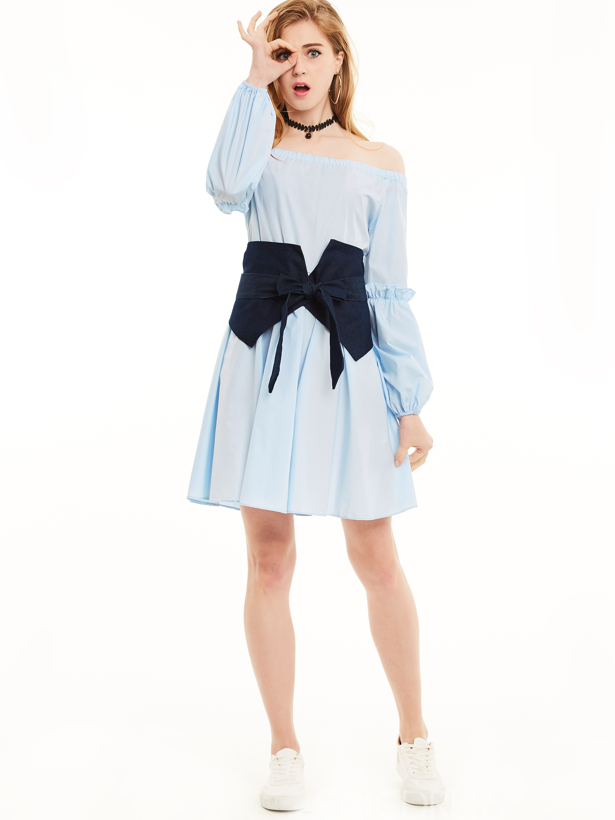 Ericdress Color Block Slash Neck Bowknot Casual Dress