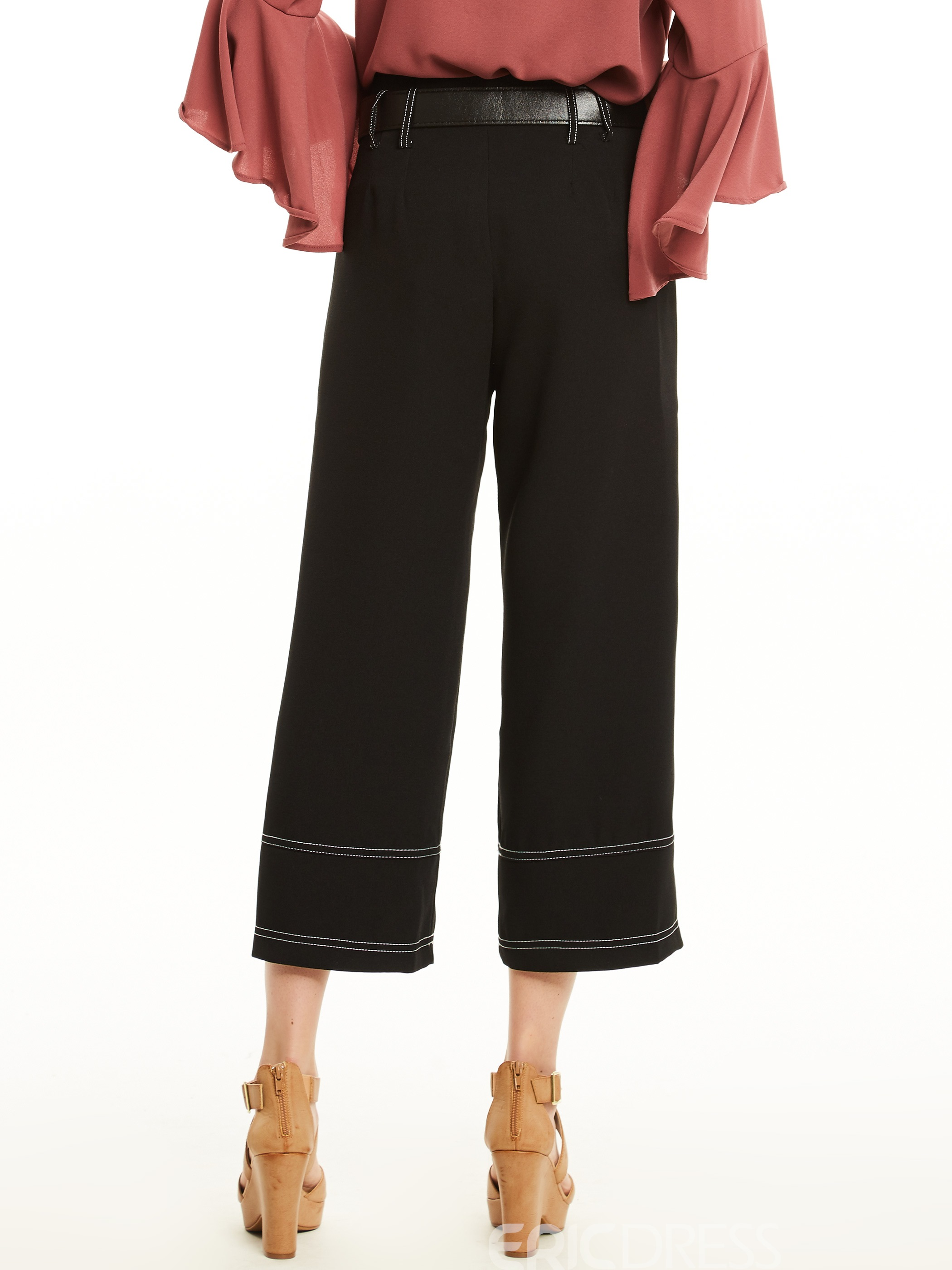 Loose Plain Wide Legs Pants