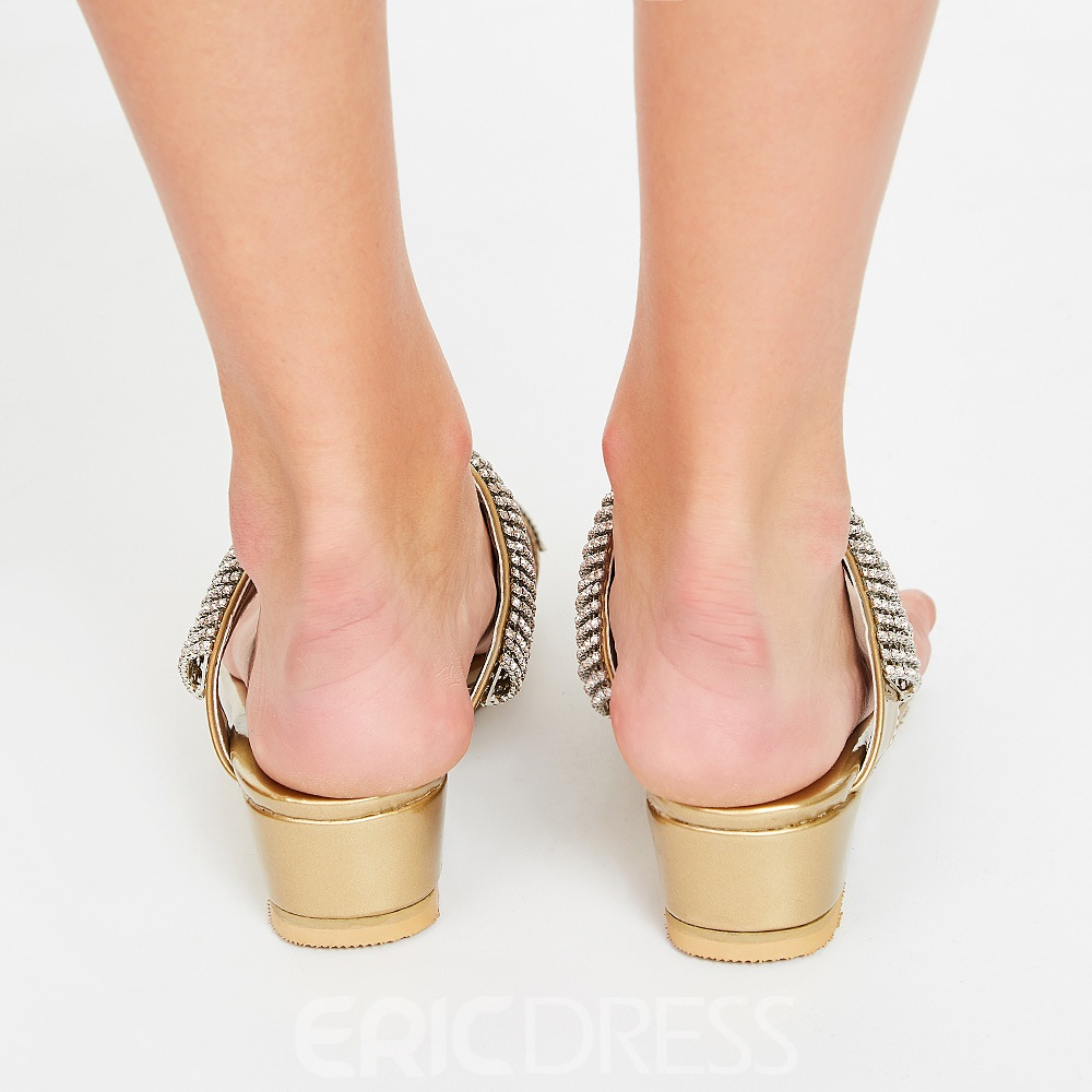 Ericdress Amazing Rhinestone Toe Ring Flat Sandals