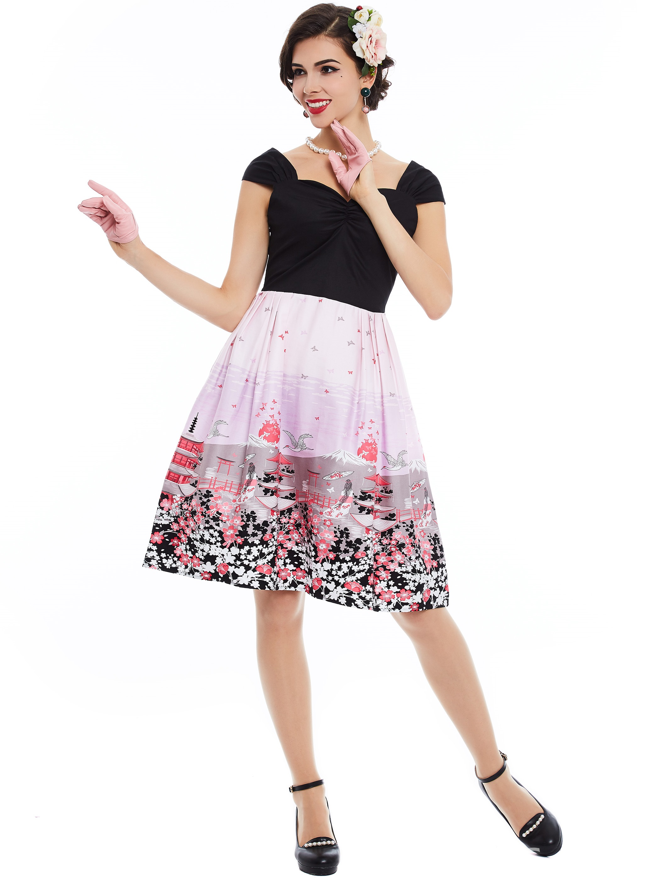 Ericdress Sweet Patchwork Floral Print A Line Dress
