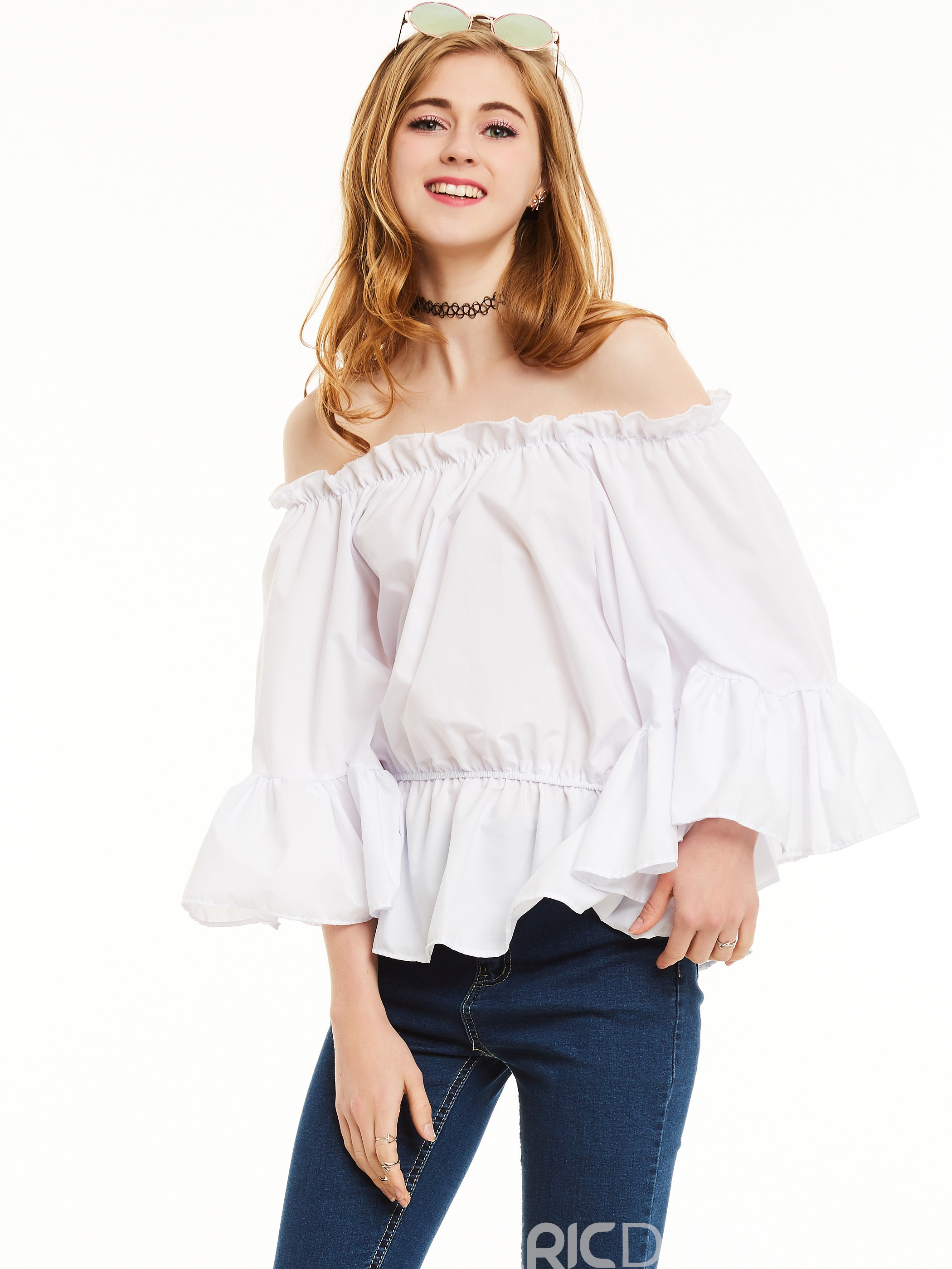 Ericdress Slim Pleated Plaid Flare Sleeves Blouse