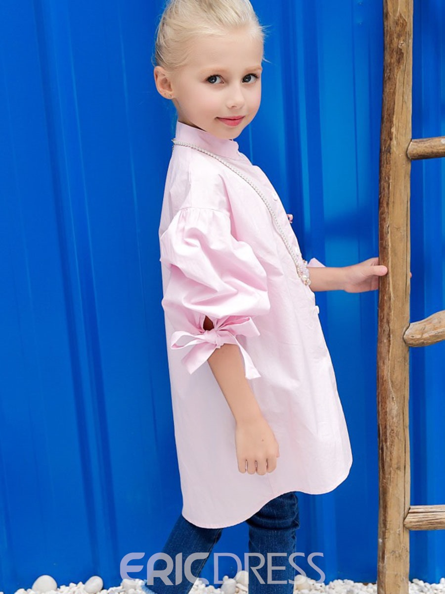 Ericdress Lantern Sleeve Bowknot Stand Collar Plain Girls Shirt