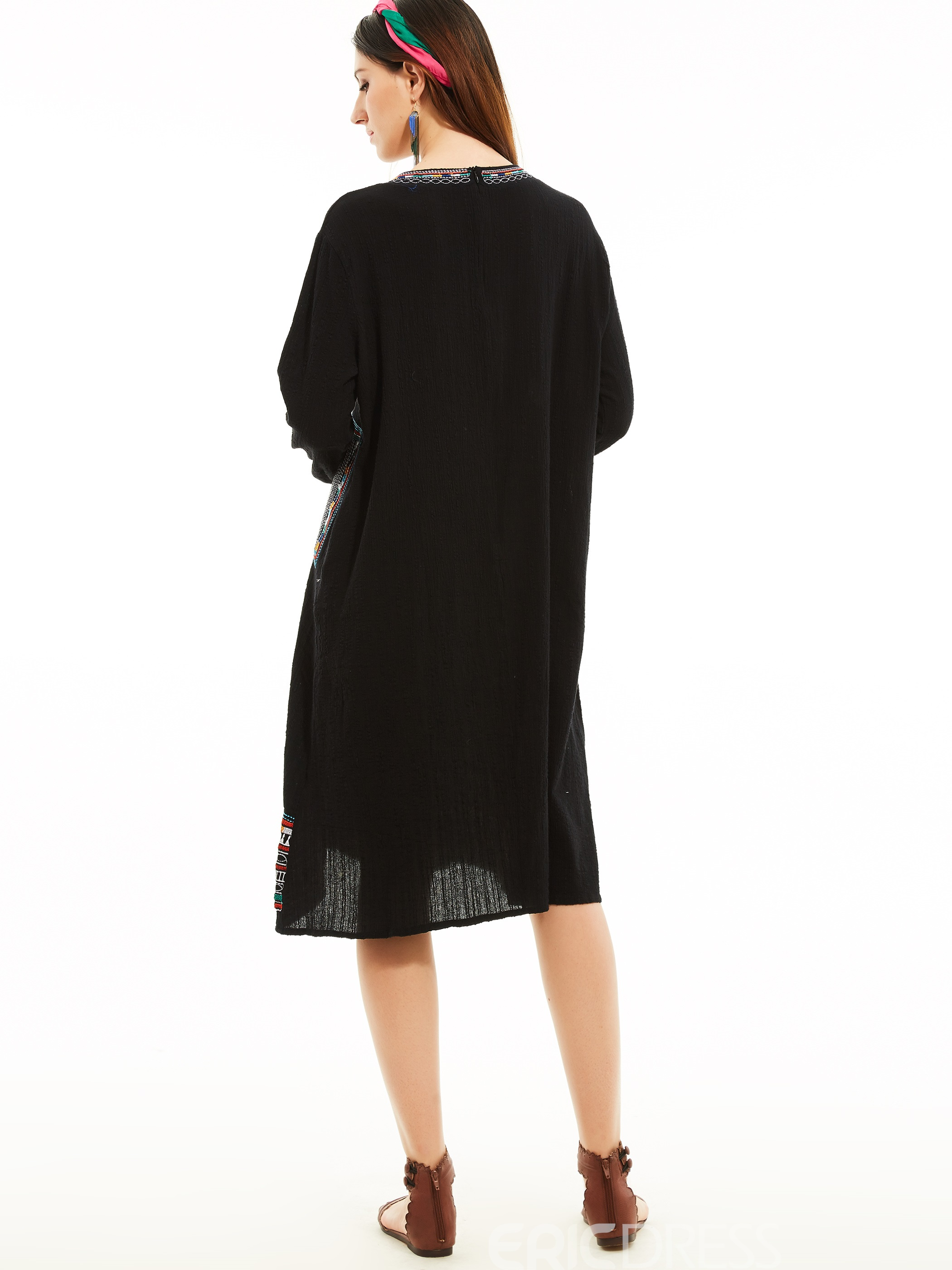 Ericdress Geometric Pattern Embroidery Casual Dress