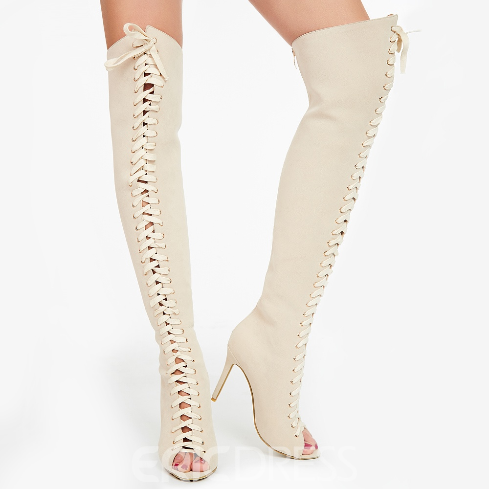 Ericdress Beige Cut Out Knee High Stiletto Sandals
