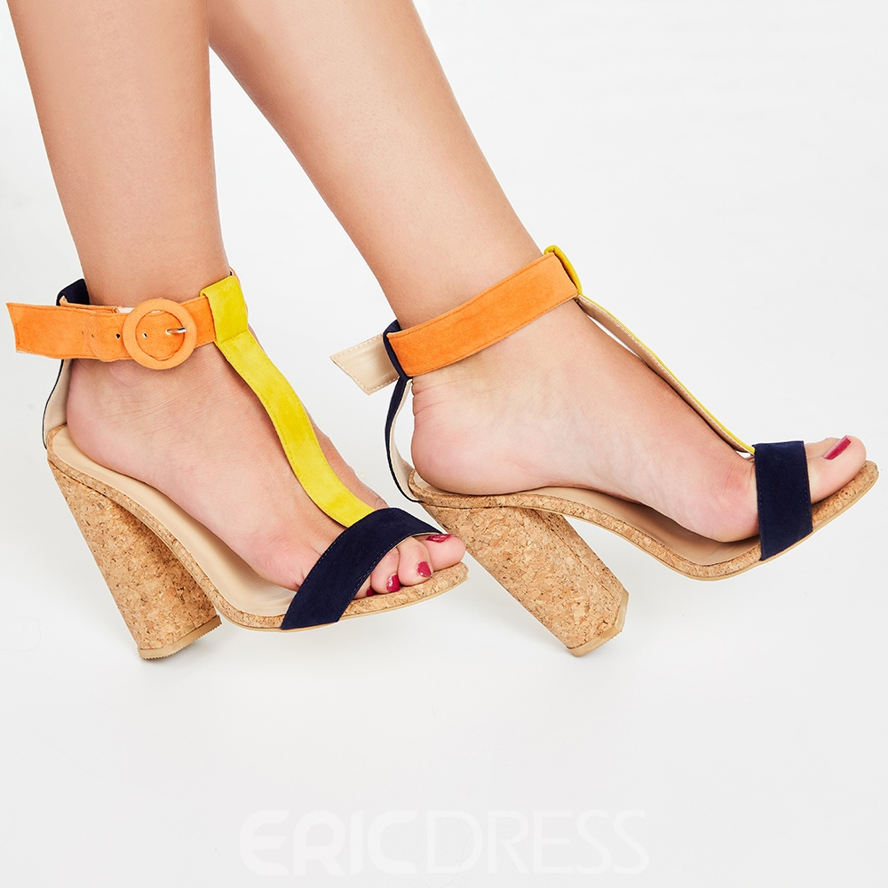 Ericdress Patchwork T Strap Chunky Sandals