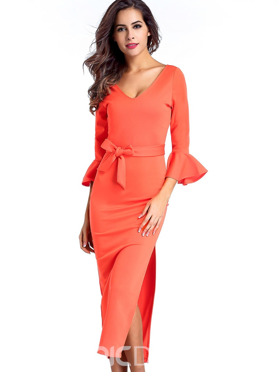 Ericdress Back V-Neck Belt Maxi Dress