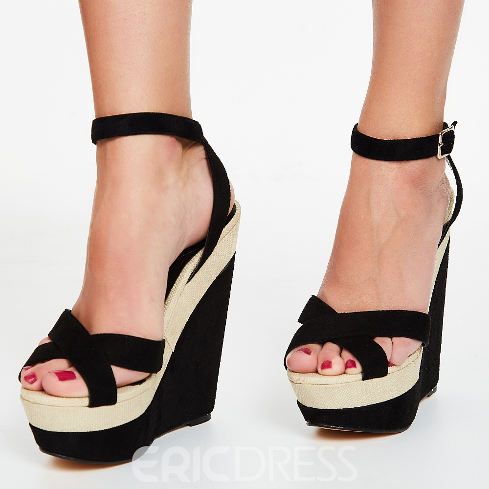 Ericdress Chic Patchwork Platform Wedge Sandals
